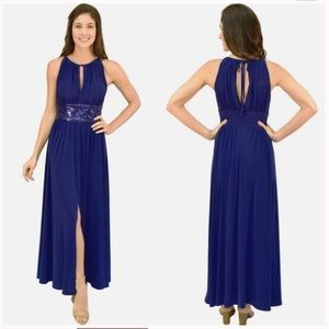 R & M Richards navy Sequin gown